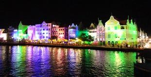 Willemstad la nuit en le Curaçao, Antilles, des Caraïbes images libres de droits