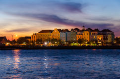 Willemstad sunset in Curacao with night lights Stock Photo