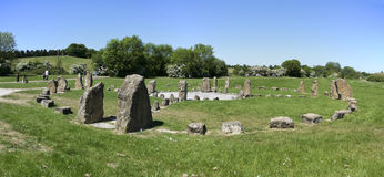 Willen Stone circle panorama milton keynes uk royalty free stock photography