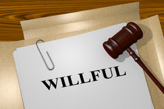 Willful - legal concept Stock Images