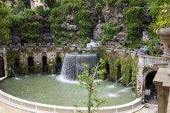 Willi d «Este16th-century fontanna i ogród, Tivoli, Włochy Unesco Światowego Dziedzictwa Miejsce zdjęcia royalty free