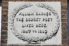 William Barnes Plaque in Dorchester. A plaque marking the location where Dorset Poet William Barnes once lived, on South Street in Dorchester, Dorset, UK Stock Photo