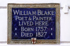 William Blake Plaque Stock Photos