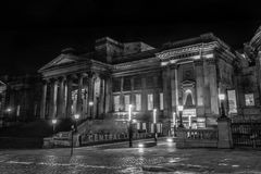 William Brown Library and Museum by night. ENGLAND, LIVERPOOL - 15 NOV 2015: William Brown Library and Museum by night royalty free stock images