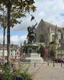 William the Conqueror Square, France. FALAISE, FRANCE, JULY 30: View of Trinity Church and William the Conqueror Square and statue in Falaise . Falaise is the Stock Photos