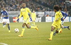 William and Didier Drogba FC Schalke v FC Chelsea 8eme Final Champion League Stock Photo