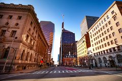 William Donald Schaefer Building street view, Baltimore, USA. Low angle view of Baltimore skyline with William Donald Schaefer Building on the background royalty free stock photos