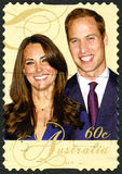 William en Kate Australian Postage Stamp Royalty-vrije Stock Afbeeldingen