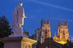 William Etty Statue and York Minster at Dusk Stock Photos