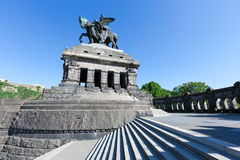 William the Great. The Deutsches Eck (German Corner) with the statue of German Unity and William the Great in Koblenz. Located at the confluence of the rivers Royalty Free Stock Photos