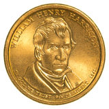 William Henry Harrison Golden one dollar coin Royalty Free Stock Photos