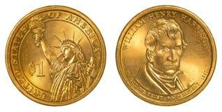 William Henry Harrison Golden uma moeda do dólar Fotografia de Stock
