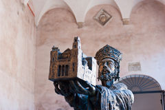 William II - founder of Monreale Cathedral. Statue of William II at the entrance to Monreale Cathedral Stock Image