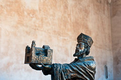 William II - founder of Monreale Cathedral. Statue of William II at the entrance to Monreale Cathedral Stock Photo