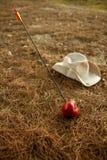 William indiquent la métaphore avec la pomme et la flèche rouges Photographie stock