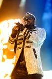 William James (lo vaya a hacer I la est), de Black Eyed Peas, se realiza en el Cornella-EL Prat de Estadi imagen de archivo