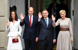 William and Kate visit in Poland. WARSAW, POLAND - JUNE 17, 2017: The Duke and Duchess of Cambridge visit in Poland Stock Images