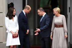 William and Kate visit in Poland royalty free stock photo