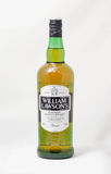 William Lawson`s blended Scotch Whisky bottle closeup on white background Royalty Free Stock Photography