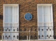 William Makepeace Thackeray 1811-1863 lived here. Stock Image