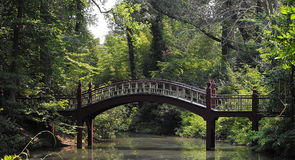William and Mary Bridge. A small Japanese style bridge on the campus of College and William and Mary Stock Photos