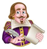 William Shakespeare Cartoon. Character holding a feather quill and scroll Stock Photos