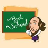 William Shakespeare Cartoon In eine Klassenzimmer-Szene Stockbild