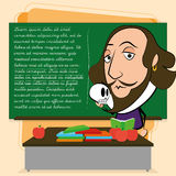 William Shakespeare Cartoon In eine Klassenzimmer-Szene Stockfotografie