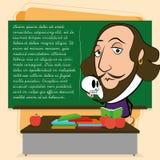 William Shakespeare Cartoon In en klassrumplats royaltyfri illustrationer