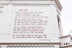 William Shakespeare sonnet at the wall of house in Leiden, Holland Royalty Free Stock Images