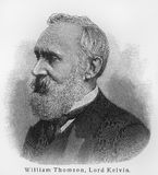 William Thomson 1st Baron Kelvin. William Thomson, 1st Baron Kelvin (1824 - 1907) was a mathematical and engineer. Sketch from an 100 years old encyclopedia book royalty free stock image
