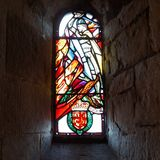 William Wallace in stained glass. William Wallace, savior of the Scottish and protector of Scotland, seen as a knight in stained glass in Edinburgh Castle chapel Royalty Free Stock Photography