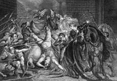 William Walworth Killing Wat Tyler. William Walworth Lord Mayor of London Killing Wat Tyler in Smithfiled in 1381 on engraving from the 1800s.  Engraved by J Stock Photography