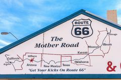 WILLIAMS, ARIZONA - JULY 3, 2007: The Star Hotel Route 66 Grand Canyon in Williams with the map of the Mother Road drawn on the fa. The Star Hotel Route 66 Grand stock photography