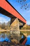 The Williams Covered Bridge. Spans the East Fork of the White River in rural Lawrence County, Indiana. The two span Howe truss design, built in 1884, is 373 Stock Image