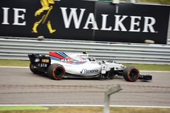 Williams Formula One dat door Lance Stroll wordt gedreven Stock Foto's