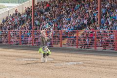 Alex Wells performs hoop dance at the Williams Lake Stampede. Williams Lake, British Columbia/Canada - July 2, 2016: three time world champion Alex Wells Royalty Free Stock Image