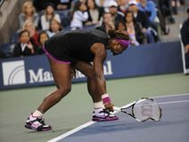Williams Serena upsets at US Open 2009. Williams Serena is breaking racquet US Open 2009 Royalty Free Stock Images