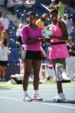 Williams sisters at US Open 2009 (20). Williams sisters Venus and Serena are the Doubles champions of US Open 2009 Stock Images
