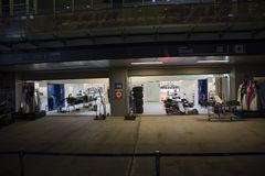 Williams team cars in boxes. royalty free stock photos