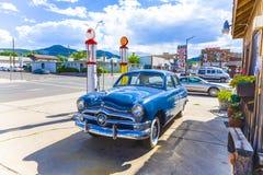 Gammal bensinstation i Williams, USA, på rutten 66 Arkivbilder