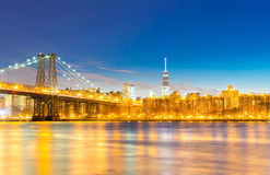 Williamsburg Bridge at dusk Royalty Free Stock Images