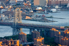 Williamsburg Bridge and East River, Manhattan, New York City Stock Images