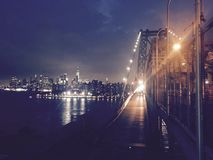 Williamsburg bridge. Electric skyline in NYC Stock Images