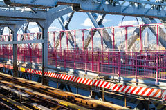 Williamsburg Bridge subway tracks and walkway in New York City Royalty Free Stock Images