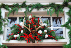 Williamsburg Christmas decorations made from pine tree leaves and deer antlers Royalty Free Stock Photography
