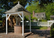 Williamsburg historic water well stock photography