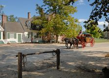 Williamsburg stagecoach and driver Royalty Free Stock Photography