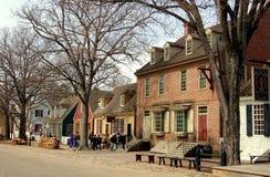 Williamsburg, VA: Mening langs Hertog van Gloucester St stock foto