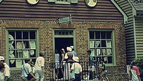 Colonial Williamsburg Historic Area. Williamsburg, Virginia, United States - in 1980: The historical colonial Williamsburg Historic Area of USA in 80s archival stock video footage